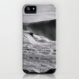 BLACK + WHITE ICELAND WATERFALL : Gullfoss iPhone Case