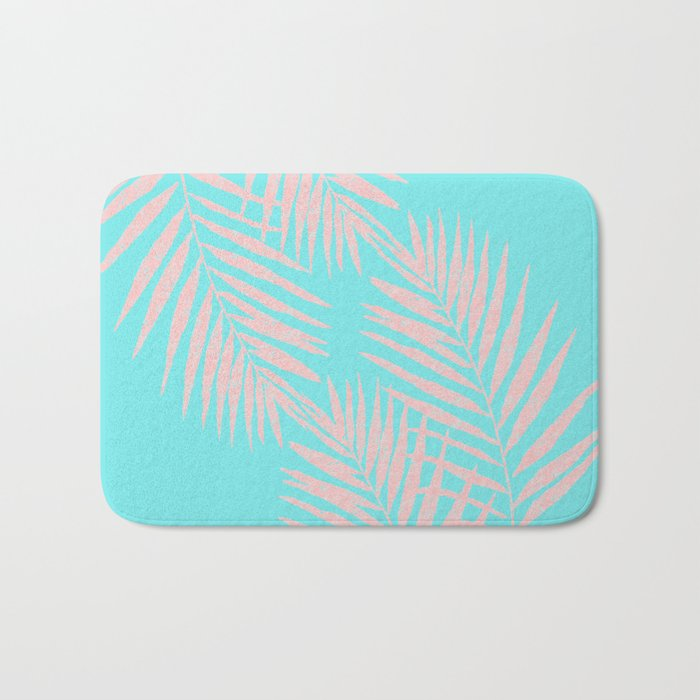 Abstract modern pink Tropical Exotic Palm Leaves on aqua by #Utart Bath Mat
