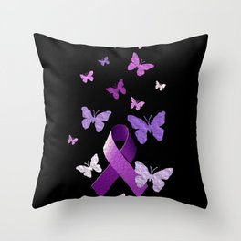 Purple Ribbon with Butterflies Throw Pillow