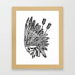Indian chief skull head Framed Art Print