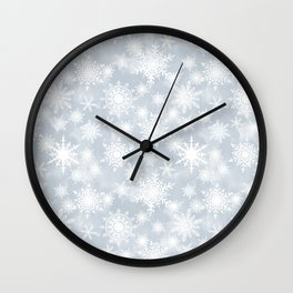 Snowflakes . White Lacy snowflakes on a light grey Wall Clock