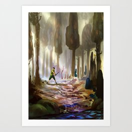 Playing in the woods Art Print