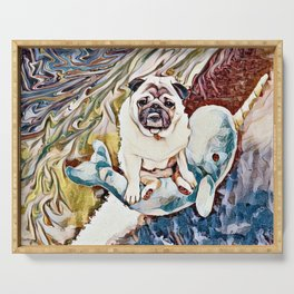 Pug Riding a Narwhal Through Space-Time Serving Tray