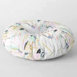 Pastel Shimmer Feather Leaves on Gray Floor Pillow