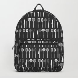 Kitchen Utensil Silhouettes Monochrome Backpack