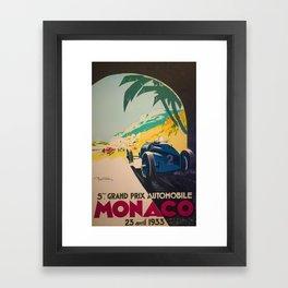 Vintage 1933 Monaco Grand Prix Car Advertisement Poster by Geo Ham Framed Art Print
