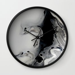 Black and Silver Fluid Macro Close-up Painting Wall Clock