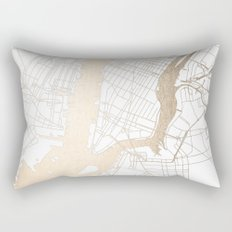 New York City White on Gold Rectangular Pillow