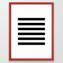 Black White Stripe Minimalist Framed Art Print
