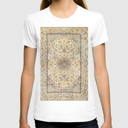 Persia Isfahan Old Century Authentic Colorful Light Yellow Dusty Blue Vintage Rug Pattern T-shirt