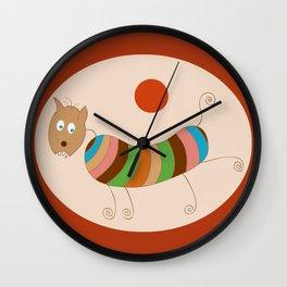 Sausage Dog In Ketchup Sunset Wall Clock