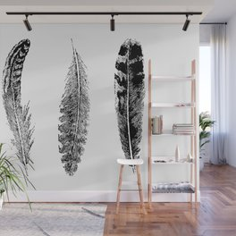 Feather Trio | Black and White Wall Mural