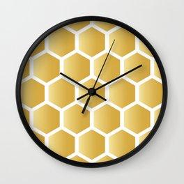 Honeycomb pattern - gold Wall Clock