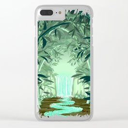 Fluorescent Waterfall on Surreal Bamboo Forest Clear iPhone Case