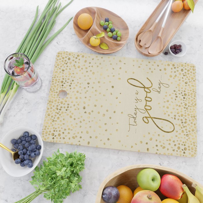 Text Art TODAY IS A GOOD DAY | glittering gold Cutting Board