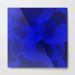 Abstract soap of ultramarine molecules and transparent bubbles on a deep blue background. Metal Print