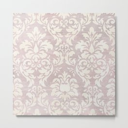Beige Shabby Damask Pattern Metal Print