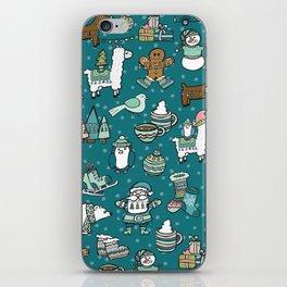 Holly Jolly Christmas Pattern, Holiday Decor, Blue Christmas, Fa la llama, Hand Drawn Illustrations iPhone Skin