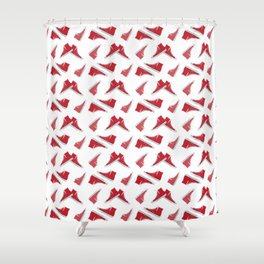 Red High Top Shoes Pattern Shower Curtain