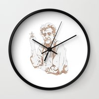 vonnegut Wall Clocks featuring So it goes * Vonnegut  by Tricia Robinson