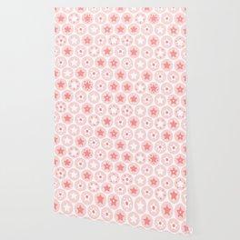 Geometric pink girls kids circles and stars seamless pattern on white background Wallpaper