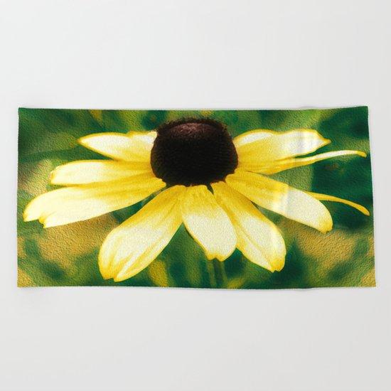 Vibrant Yellow Coneflower Beach Towel