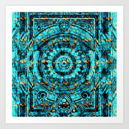 Inner Deck Gold and Turquoise Art Print