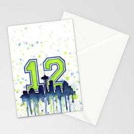 Seattle Skyline Space Needle 12th Art Stationery Cards