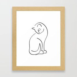 Cat Line Art (Lights) Framed Art Print