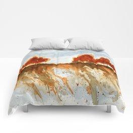 Firebranch Ridge, Watercolor Abstract Landscape Art Comforters