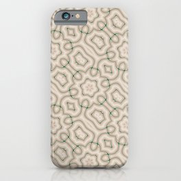 Squiggles in Green on Beige iPhone Case