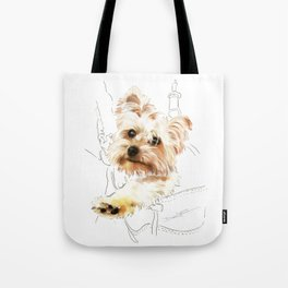 Yorkie in a backpack (Yorkshire Terrier) Tote Bag
