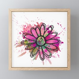 GC031-1 Colorful watercolor doodle flower pink and green Framed Mini Art Print