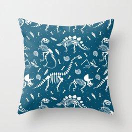 Dinosaur Fossils in Blue Throw Pillow