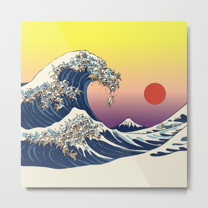 The Great Wave Of  Cat Metal Print