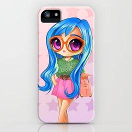 blue hair mangagirl iPhone Case