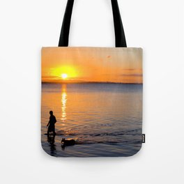 Wading in the Sunset Tote Bag