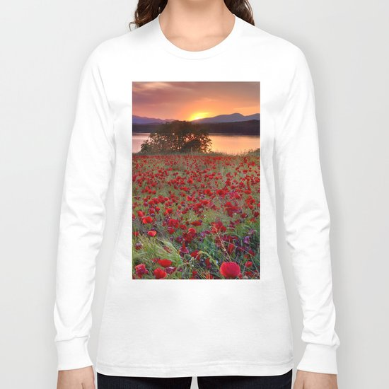 Sea of poppies at the lake Long Sleeve T-shirt