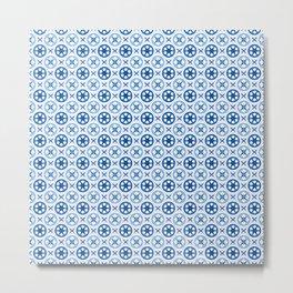Chinoiseries Porcelain Tiles Blue Metal Print