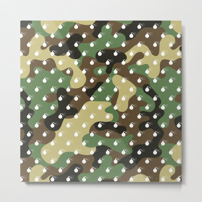 CAMO & WHITE BOMB DIGGITYS ALL OVER LARGE Metal Print
