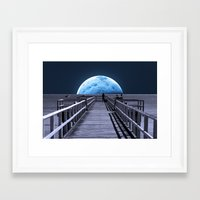 la Framed Art Prints featuring Once in a blue moon by Donuts