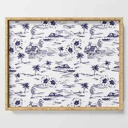 Tropical Island Vintage Hawaii Summer Pattern in Navy Blue Serving Tray