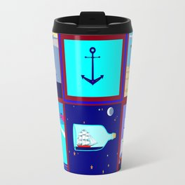 A Nautical Quilt with Ships, Lighthouses and Anchors Travel Mug