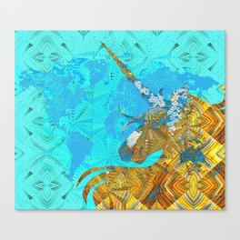 Ancient Magic World Map Wall Art Canvas Print