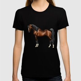 Dark Bay Arabian Horse with 4 White Socks T-shirt