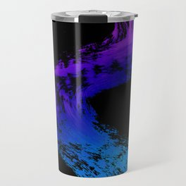Fuchsia to Sky Blue Brush Drip Abstract Painting on Black Travel Mug