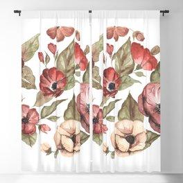 Circular Pink Florals Blackout Curtain