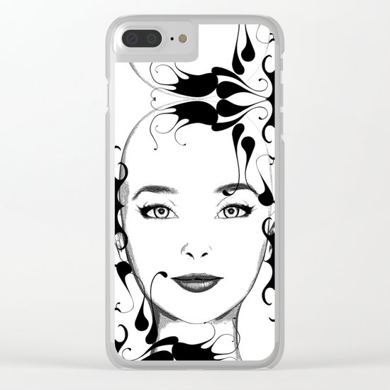 Black and white face ornament Clear iPhone Case
