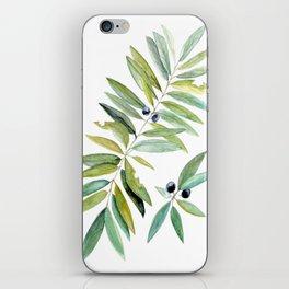 Leaves Berries Sage Green Turquiose Nature Art Floral Watercolor iPhone Skin