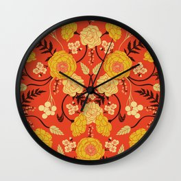 Vibrant Orange, Yellow & Brown Floral Pattern w/ Retro Colors Wall Clock